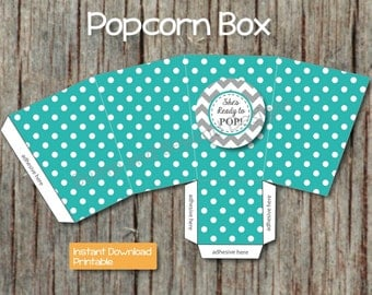Popcorn Box Printable DIY INSTANT DOWNLOAD Shes Ready to ...