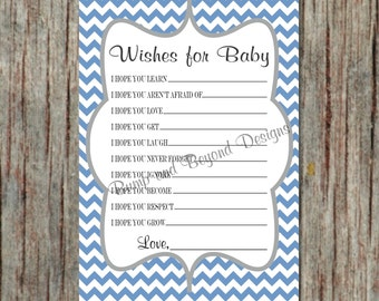 INSTANT DOWNLOAD Wishes for Baby Boy Game Baby Shower Game Printable Digital File Ocean Blue Grey Chevron 074