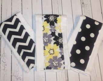 Set of 3 coordinating burp cloths