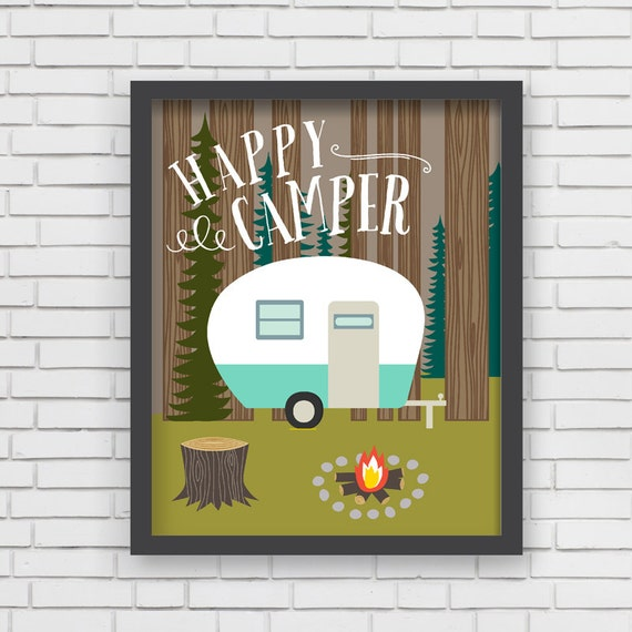 Home decor camping wall art happy camper art print 11x14 for Room decor etsy