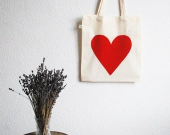 Eco Love Heart Tote Bag - Red