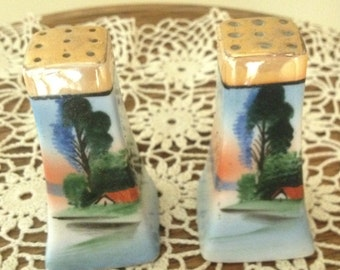 Vintage  Lusterware Salt and Pepper Shakers Made in Japan-Pretty landscape Scene