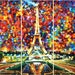 """Paris Of My Dreams (Set Of Three) — Eiffel Tower 3 Piece Wall Art Oil Painting On Canvas By Leonid Afremov. Size: 27"""" X 60"""" Inches Each"""