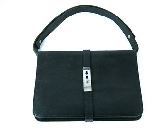 French vintage genuine leather navy blue leather satchel. Cross body bag or shoulder purse. Ipad. Tablet. E reader