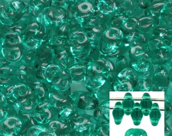 Emerald Green SuperDuo Two Hole 2x5mm  Czech Glass Bead (7.5 grams) SD-5072
