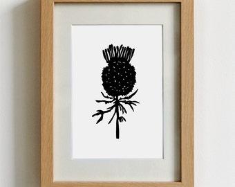 Thistle linocut - scottish themed art, thistle print, scottish gift