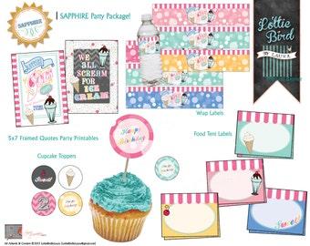 Ice Cream Truck Soda Shoppe - Birthday - Sapphire PARTY PACKAGE - Printable - Digital - Customizable