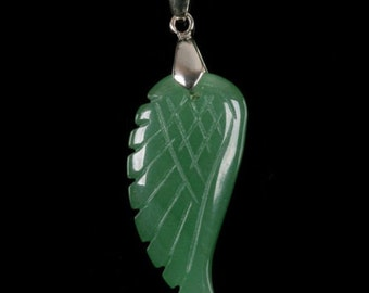 g0612.1    36mm Carved green aventurine angel wing pendant focal bead (Bail added)