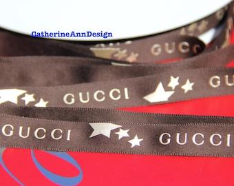 "Authentic Gucci ribbon 1 yard brown & light gold Gucci LOGO satin 3/4"" for hair bows headband dog collars key fob scrapbooking gift wrapping"