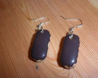 Chocolate eclair dangle earrings/Birthda present/novelty/charm Christmas sale