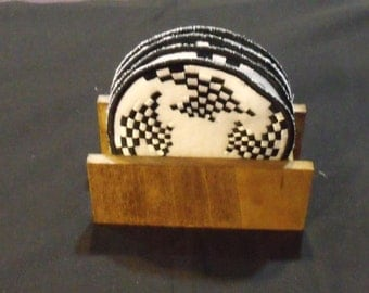 Checkered Coasters Set of Four (4) with Coaster Holder embroidered coast set for hot and cold beverages