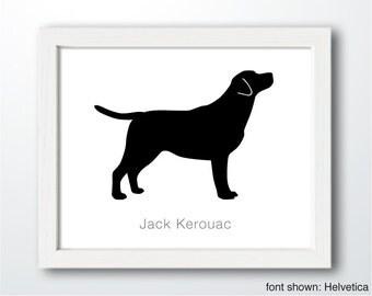 Personalized Hand-Cut Labrador Retriever Silhouette (version 1) with Custom Name - Labrador portrait, Labrador art, modern dog home decor