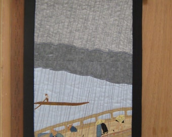 Small Quilted Wall Hanging after Hiroshige Sudden Shower over Shin-Ohashi Bridge (1857)