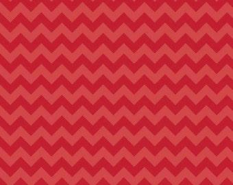 Red Tone on Tone Chevron Small 1/2 Yard Riley Blake Cotton Fabric