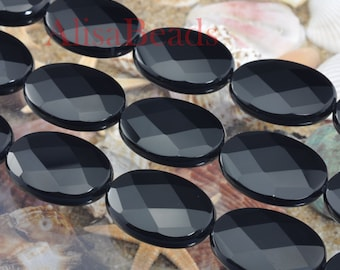 Black Onyx,faceted oval,18X25mm,beads,15 inches