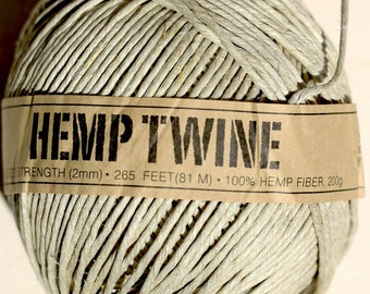 100% Natural organic Hemp Twine -  strong 2MM -   Spool x 81 METRE ( 265 feet)