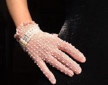 Pale pink crocheted wedding and party vintage style gloves with mix- white beads FREE SHIPPING