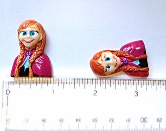 2/3/5 pc Frozen Princess Anna Resin Flat back Cabochon Hair Bow Center