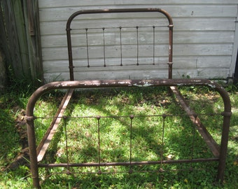 Antique Cast Iron Metal FARM Bed that was made in 1909-1920's. Brown over White, Rustic, Farm Bed.