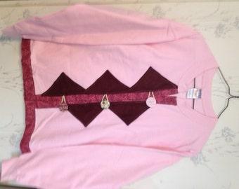 Sweatshirt Cardigan Pink & Burgundy Size Medium