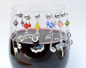 Magnetic Wine Charms (Music notes, dance, guitar ballet)