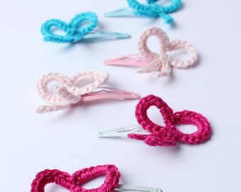 hair clips with crochet bow