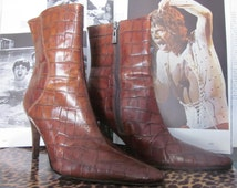 Boots Crocodile Leather Ankle Boots Valerie Stevens