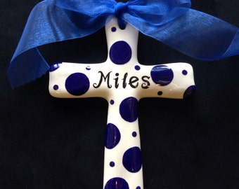 Personalized Ceramic Cross - Baptism, Christening, Christmas, Easter or Baby shower Gift