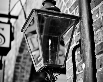 New Orleans French Quarter Black and White Photograph, Gaslamp, Jackson Square, Architecture