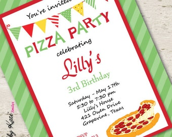 Pizza Party Invitation Birthday Invitation Pizza Invitation Unique Birthday Party