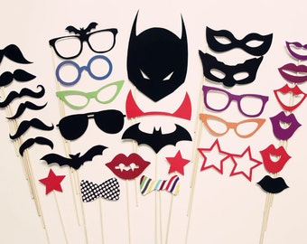 Photo Booth Prop - Batman Themed Photo Booth Prop On a Stick - Masks - Glasses - Lips - Photo Booth Props on a Stick Set of 30