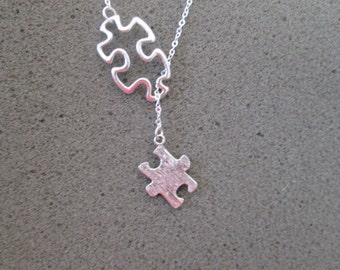 Autism Awareness Puzzle Necklace - Lariat Style
