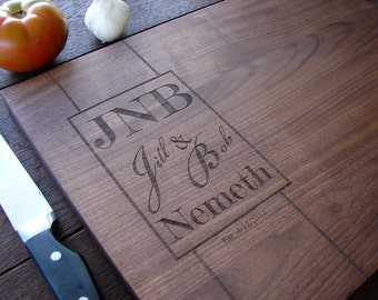 Custom Monogram Cutting Board Anniversary Gift  Wedding Present House Warming Party Hostess Gift Mother's Day Present Birthday Gift for Him