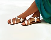 Women Sandals, Summer White Strappy Leather Sandals