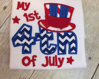 My 1st Fourth of JULY applique shirt perfect for SUMMER