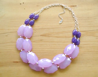 Lavender Eggplant Purple statement necklace, Chunky Lavender necklace