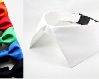 Dog Wedding Shirt Collar Bow Tie Set with D Ring for Leash White Black Red Blue Green Ring Bearer Dog Bowtie Wedding Attire