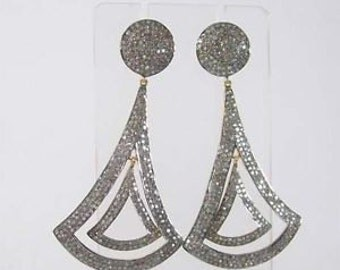 Victorian 9.20ct Rose Cut Diamond Earrings, Free Shipping Worldwide