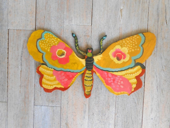Joyful Moth Handpainted Wood Wall Sculpture by Kimberly Hodges, butterfly wall decor, painted moth, tween decor, girls decor, nursery decor