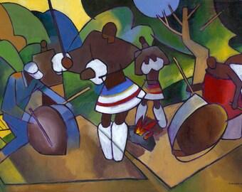 Swazi Rhythm, Original Acrylic Painting on Canvas