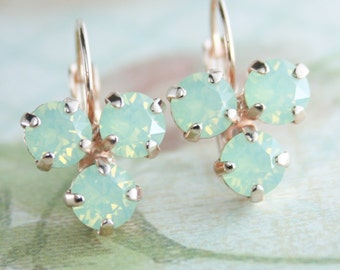 Mint opal earrings Mint green crystal earrings Mint green earrings Green Opal earrings Mint green wedding Mint Wedding,rose gold earrings