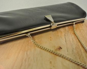 1960s Black Patent Leather Clutch Handbag w/Chain Strap Retro Purse