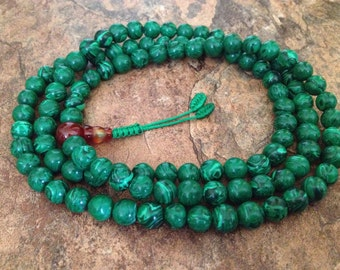 Malachite Japa Mala 108 Beads Stretch Full Mala Necklace for Meditation and Yoga