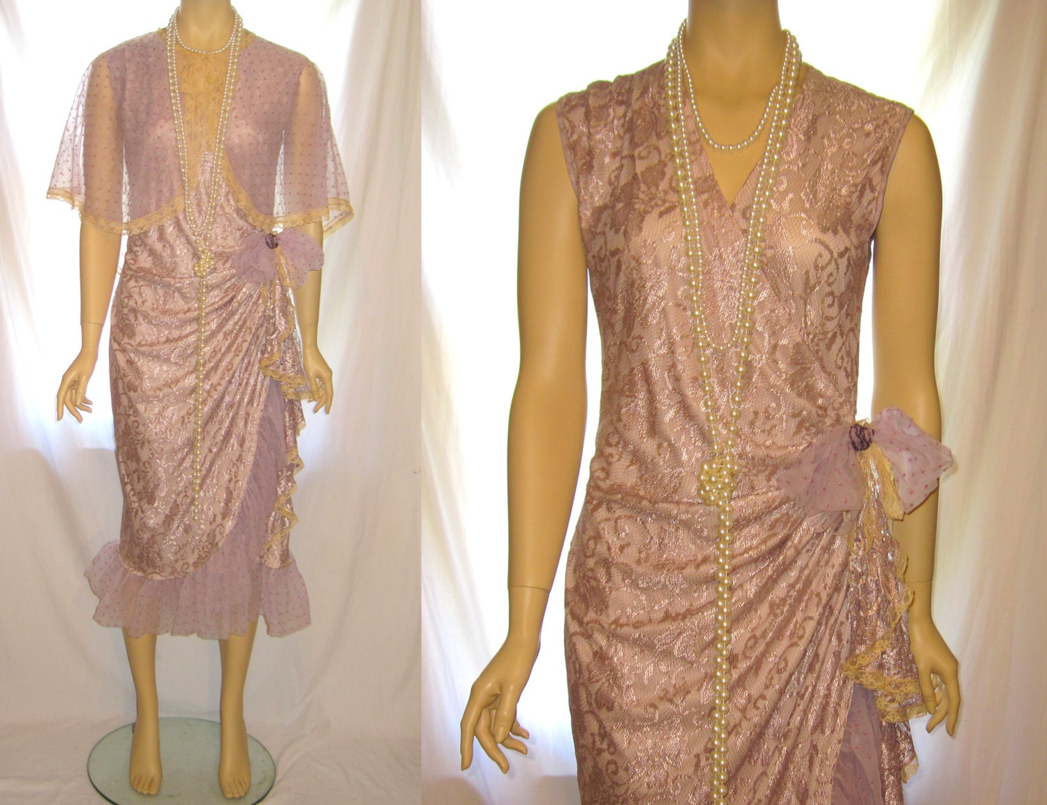 Upcycled handmade mauve color ladies' formal bridesmaids wrap dress, 1920s Great Gatsby dress, long maxi wrap dress bridesmaid wedding dress