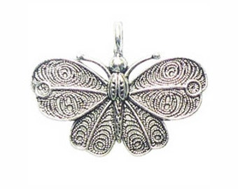 3 Silver Moth Butterfly Charm 32x42mm by TIJC SP0841