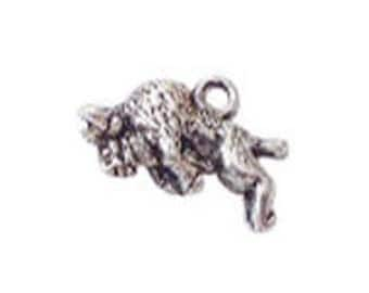 8 pcs - 3B Silver Buffalo Charm 16x20mm - Ships from Texas by TIJC - SP0247