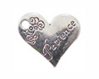 8 Silver Patience Affirmation Heart Charm Pendant 18x21mm by TIJC SP0299