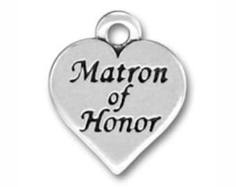 5 Heart Silver Matron of Honor Charm 18x16mm by TIJC SP0165