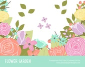 "Flower Garden Clip art: ""SPRING GARDEN CLIPART""  Rose, Ranunculus, Magnolia, Pink, Yellow, Peach, Blue"