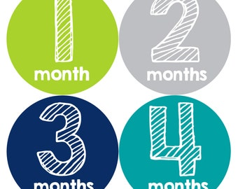 Baby Month Stickers, Baby Boy Gift, Milestone Stickers, Monthly Sticker, Monthly Baby Boy Stickers, Baby Bodysuit, Baby Shower Gift 247